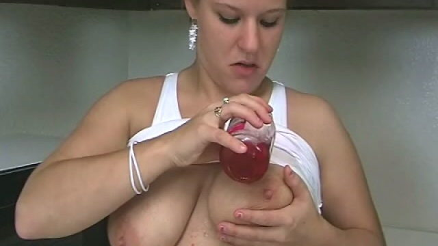 Large Meloned Blonde Bambino Christy Spreading Cherries On Her Sensual Frame Within The Kitchen