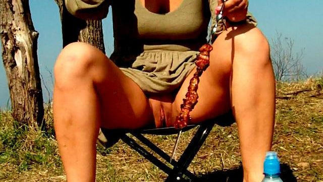 Attractive Brunette Newbie Spouse Dasha Flashing Red Valarie's Stinkhole Upskirt And Consuming Beer At A Picnic