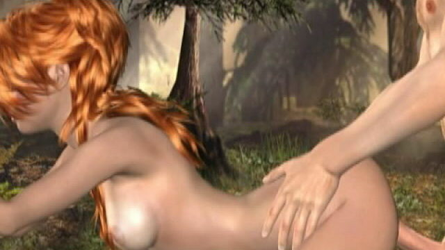 Fiery Crimson Haired Three-d Female Friend Molly Getting Tight Cave Crashed Within The Wooded Area