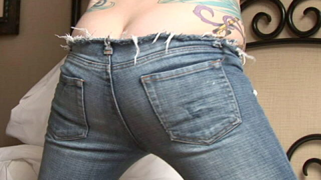 Lustful Small Fry In Tight Denims Sailor Appearing Her Provoking Rump