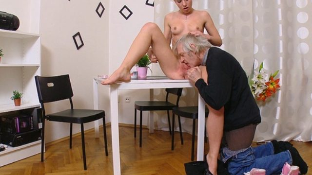 Nelya Is Put At The Desk And Done Deeply Along With Her Legs Extensive Open