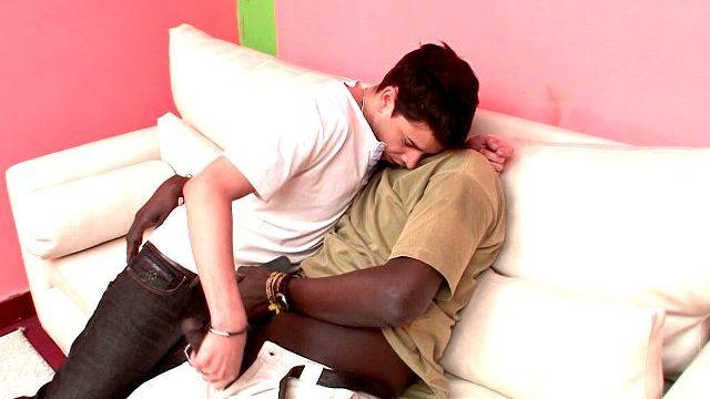 Superb Brunette Homosexual Naza Giving Handjob To Canu's Unimaginable Black Flesh Flute At The Sofa
