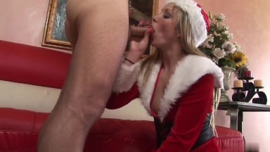 Ash-blonde In Santa Garb Will Get Doggie-style Smash At The Couch